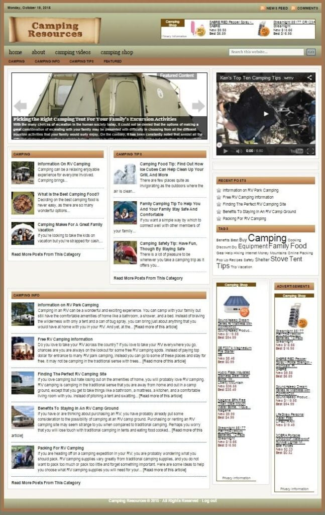 CAMPING and OUTDOORS BLOG WEBSITE FOR SALE! with SEARCH ENGINE FRIENDLY CONTENT