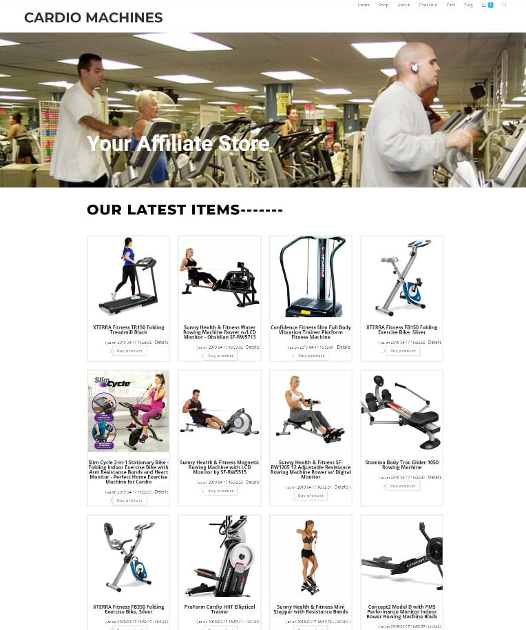 CARDIO MACHINES BUSINESS WEBSITE WITH DOMAIN - HOSTING - EASY TO RUN AT HOME