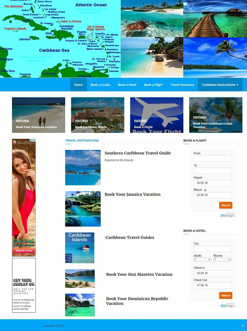 CARIBBEAN TRAVEL WEBSITE FOR SALE! OFFERING HOTELS/FLIGHTS/CRUISES/ATTRACTIONS