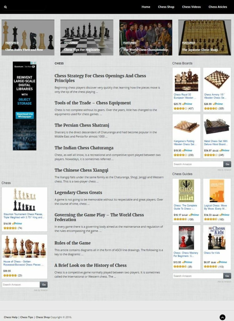 CHESS BLOG and SHOP WEBSITE BUSINESS FOR SALE! 100% AUTOMATED! MOBILE RESPONSIVE