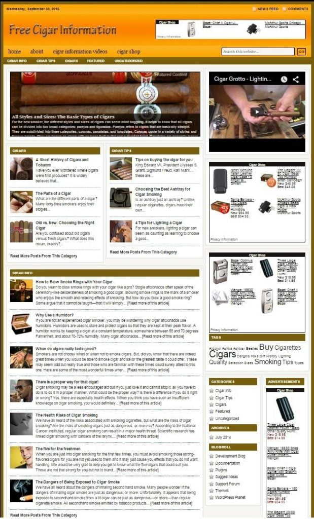 CIGARS and ACCESSORIES WEBSITE BUSINESS FOR SALE! with TARGETED SEO CONTENT