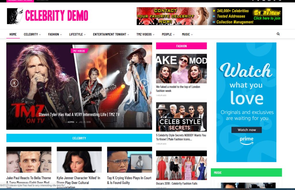 Celebrity News / Affiliate product website,100% automated -Premium designed-