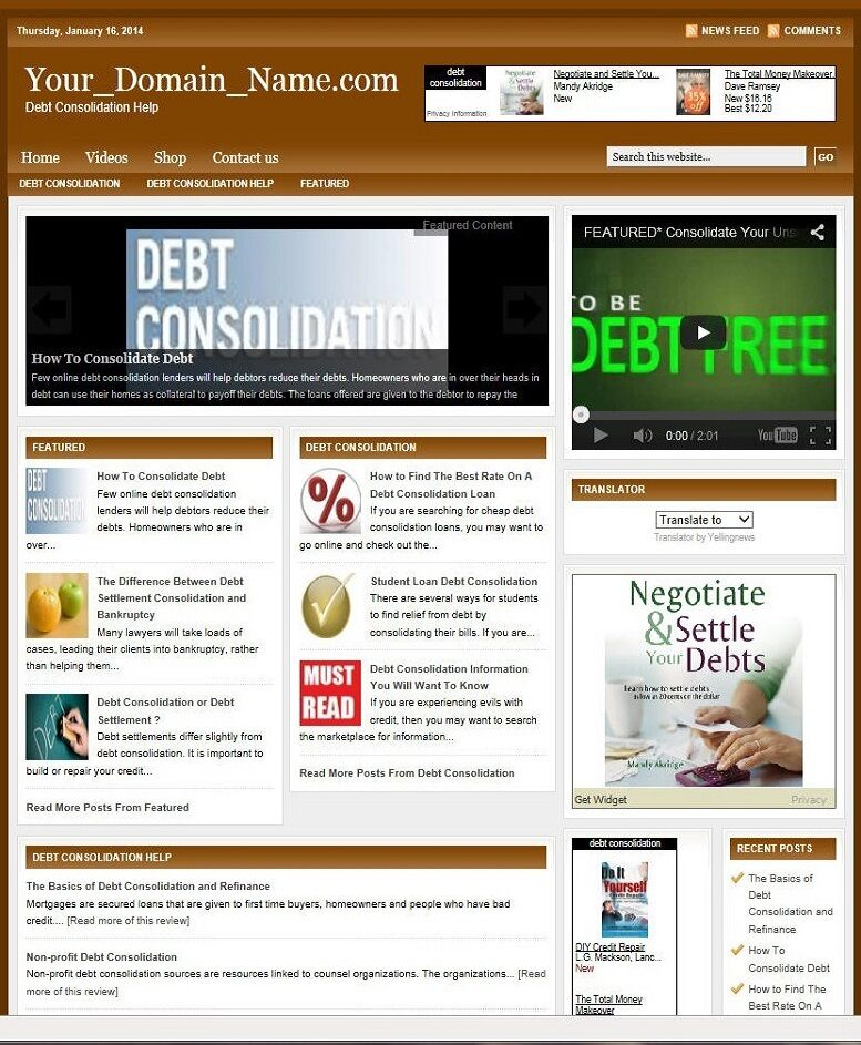 DEBT CONSOLIDATION HELP WEBSITE BUSINESS FOR SALE! TARGETED SEO CONTENT INCLUDED