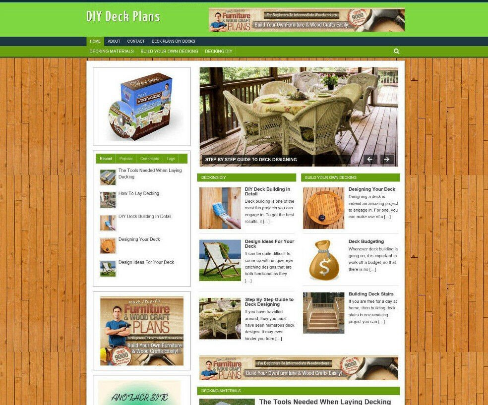 DIY DECK PLANS WEBSITE / AFFILIATE STORE WITH NEW DOMAIN & VIDEO PAGES