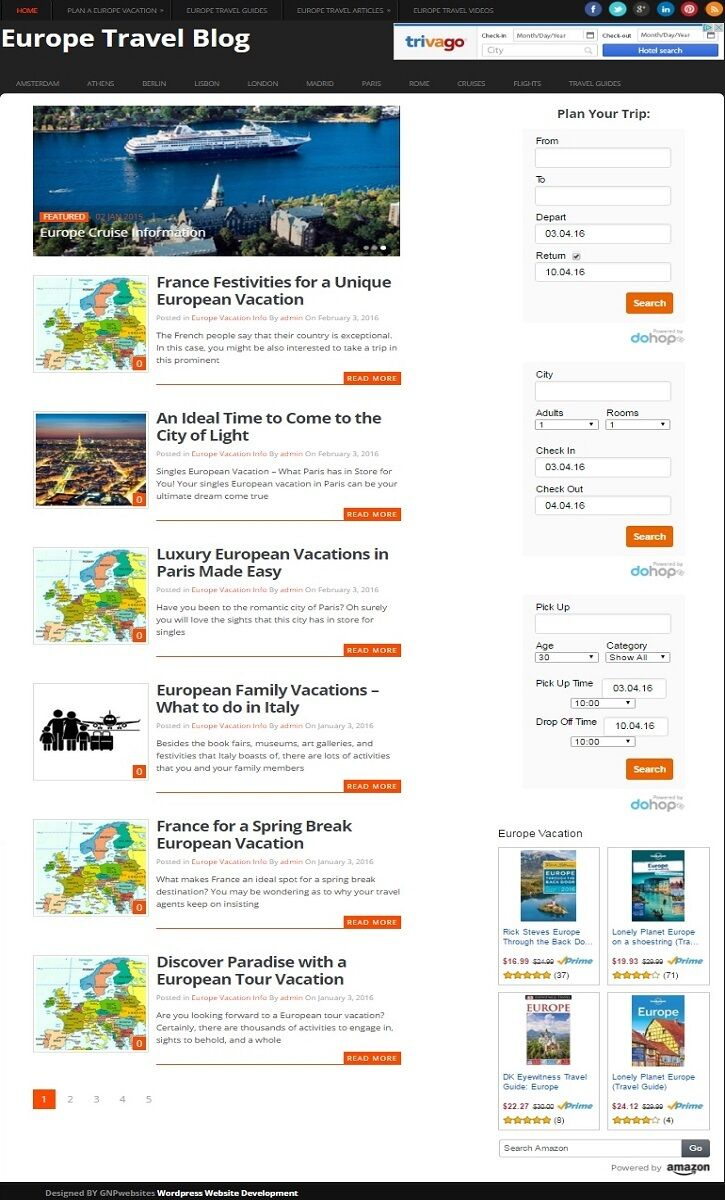 EUROPE TRAVEL and VACATION PLANNING WEBSITE BUSINESS FOR SALE! MOBILE FRIENDLY