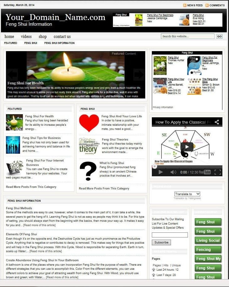 FENG SHUI BLOG and SHOP WEBSITE BUSINESS FOR SALE! with TARGETED CONTENT