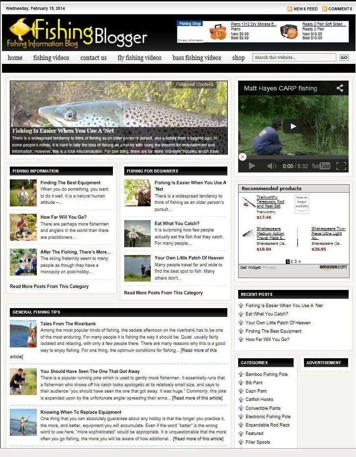FISHING SHOP WEBSITE BUSINESS & DOMAIN FOR SALE! with TARGETED SEO CONTENT