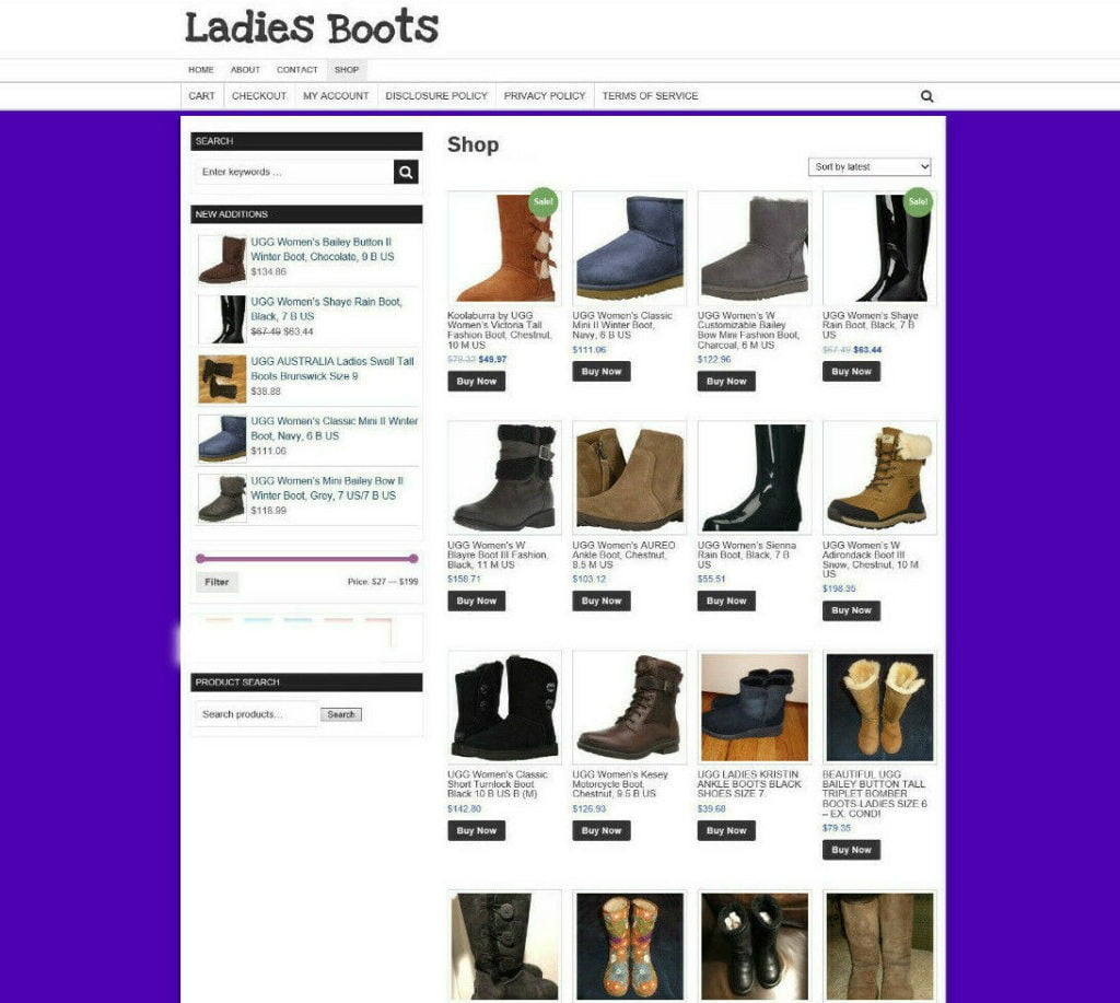 Fully Stocked Ladies Boots Store Website With Affiliate & 1 Years Hosting
