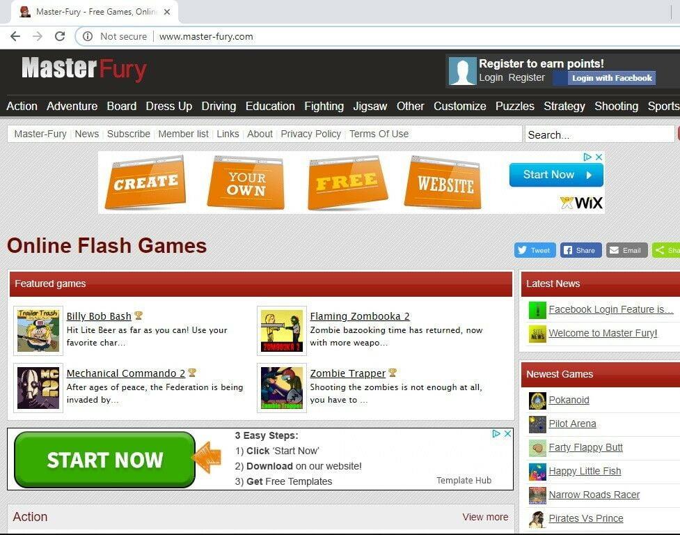 Gaming Arcade Flash Games Website For Sale: Master Fury - master-fury.com