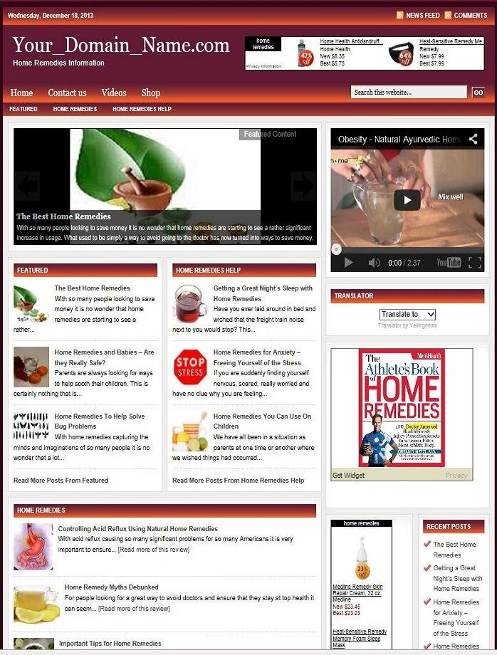 HOME REMEDIES BLOG and SHOP WEBSITE BUSINESS FOR SALE! with TARGETED SEO CONTENT