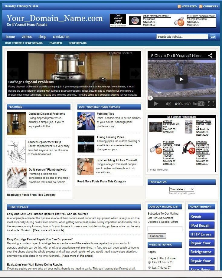HOME REPAIRS HELP WEBSITE BUSINESS & DOMAIN FOR SALE! with TARGETED CONTENT