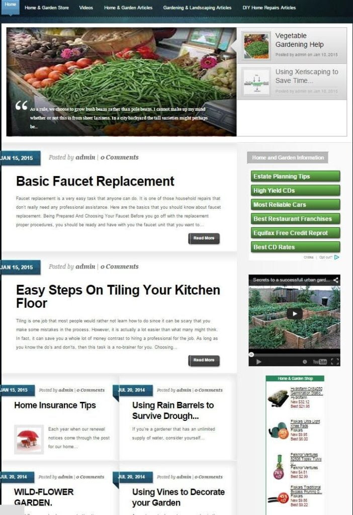 HOME and GARDEN WEBSITE BUSINESS FOR SALE! with SEARCH ENGINE FRIENDLY CONTENT