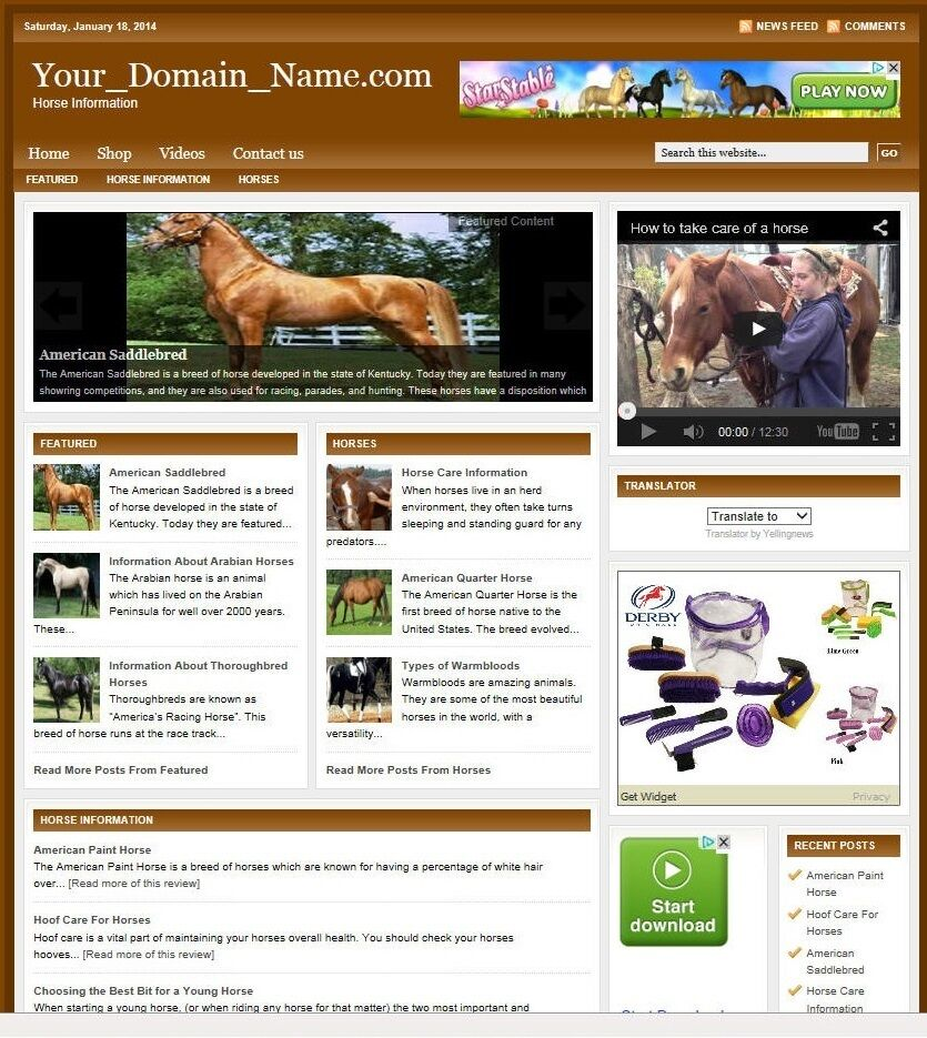 HORSE CARE BLOG and SHOP WEBSITE FOR SALE!