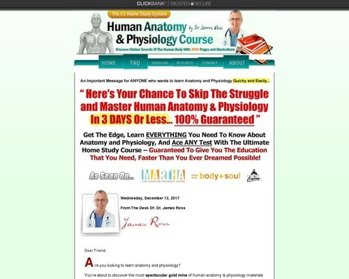 Human Anatomy & Physiology Study Course - $55.81 Per Sale! - 75% Comms