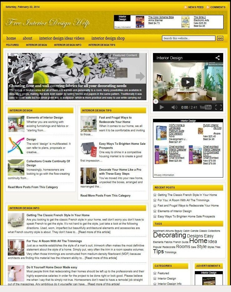 INTERIOR DESIGN HELP WEBSITE BUSINESS FOR SALE! with TARGETED SEO CONTENT