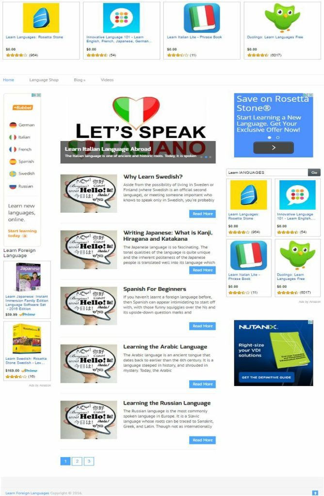 LEARN FOREIGN LANGUAGES BLOG WEBSITE BUSINESS FOR SALE! MOBILE RESPONSIVE DESIGN