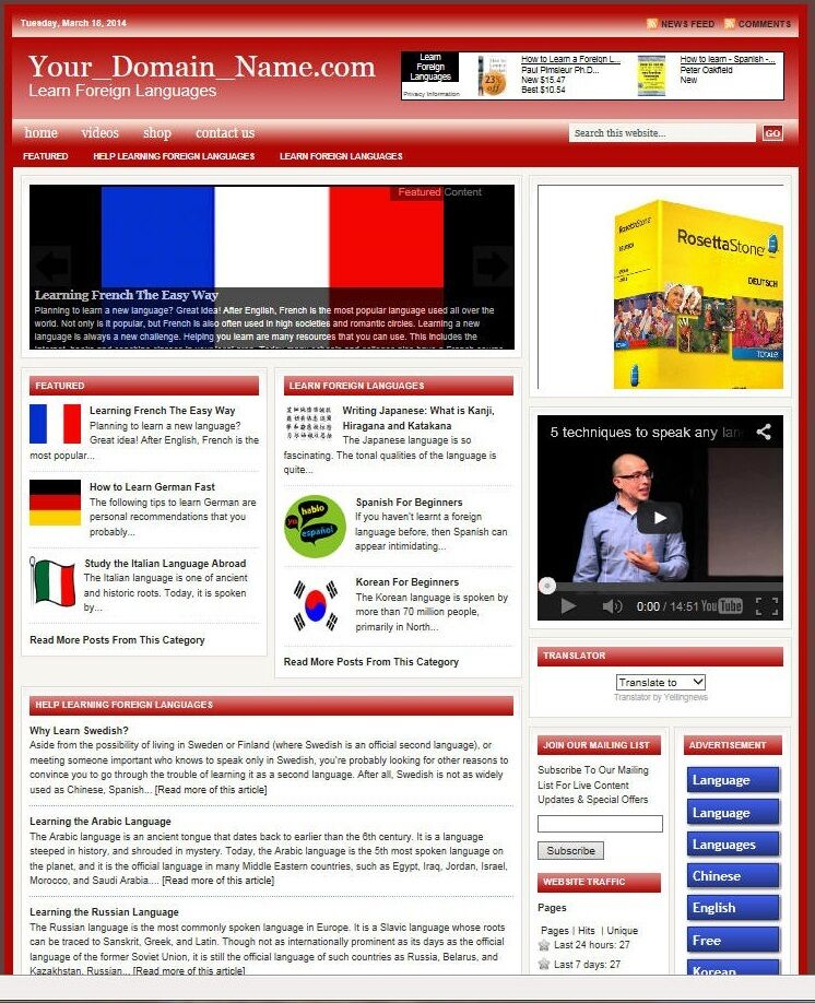 LEARN LANGUAGES BLOG and SHOP WEBSITE BUSINESS FOR SALE!