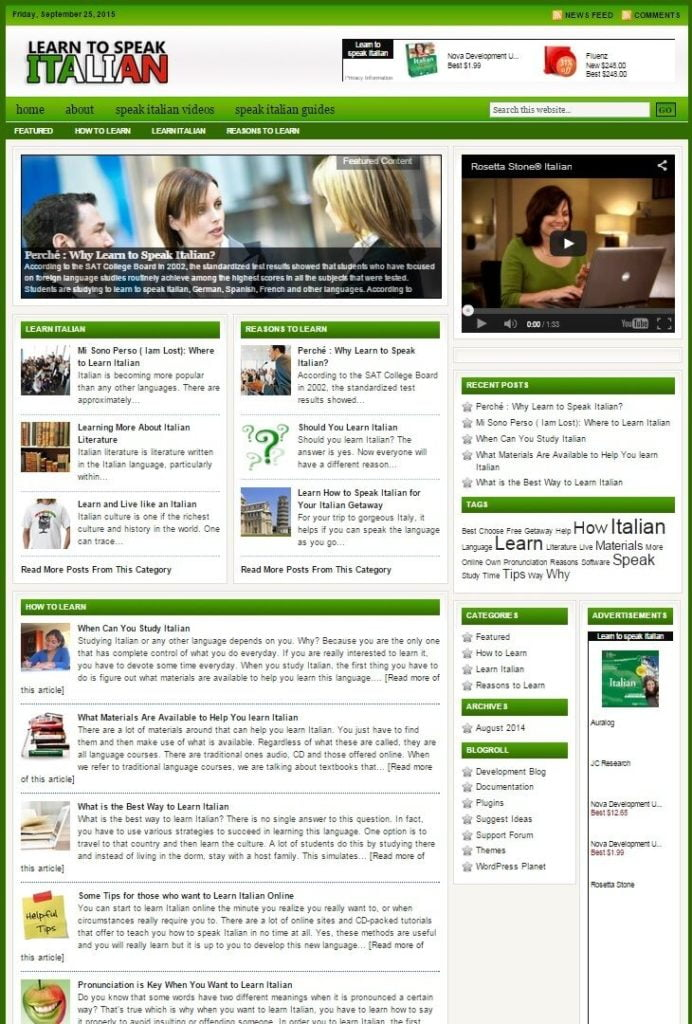LEARN TO SPEAK ITALIAN WEBSITE BUSINESS FOR SALE! with TARGETED CONTENT