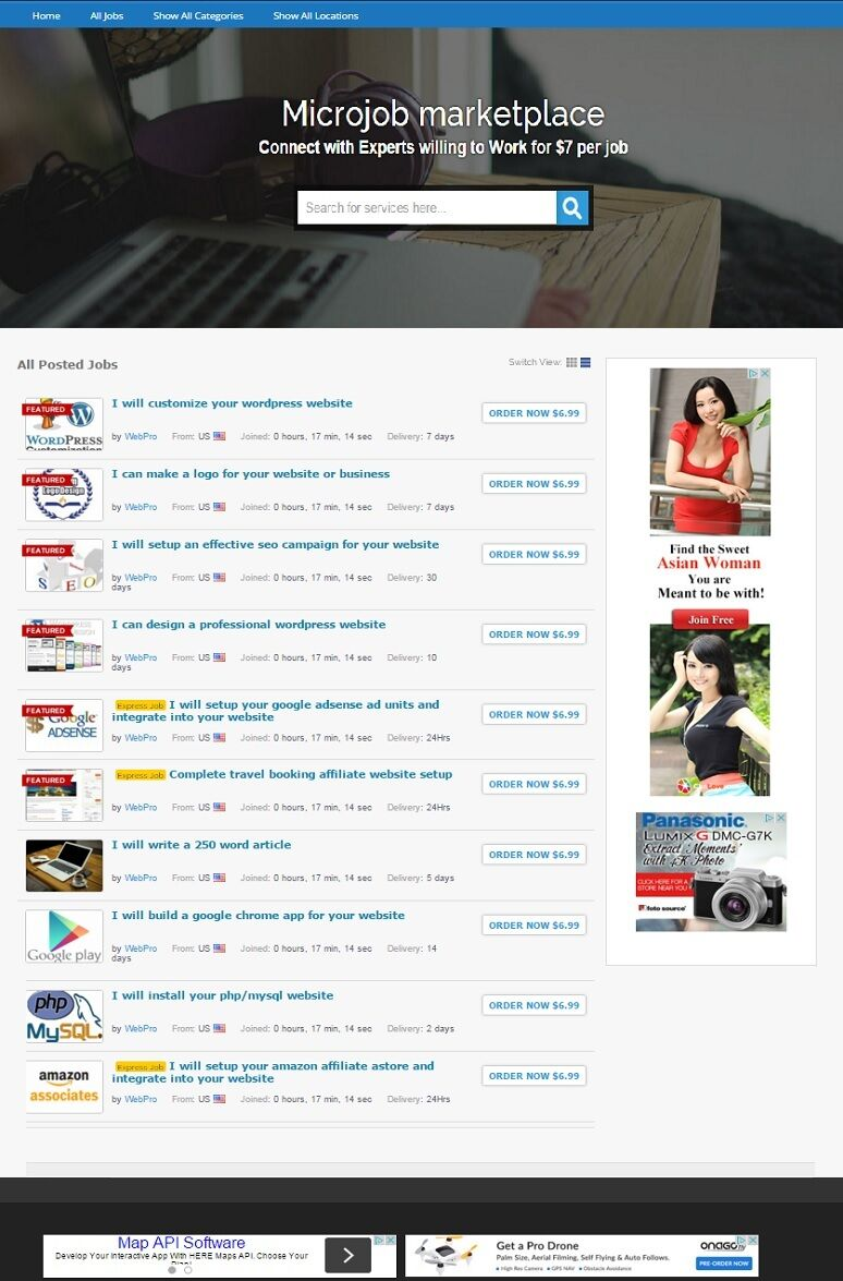 MICROJOBS MARKETPLACE WEBSITE BUSINESS FOR SALE!  MOBILE RESPONSIVE DESIGN