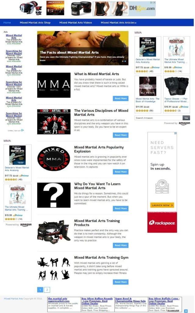 MIXED MARTIAL ARTS BLOG WEBSITE BUSINESS FOR SALE! MOBILE RESPONSIVE DESIGN
