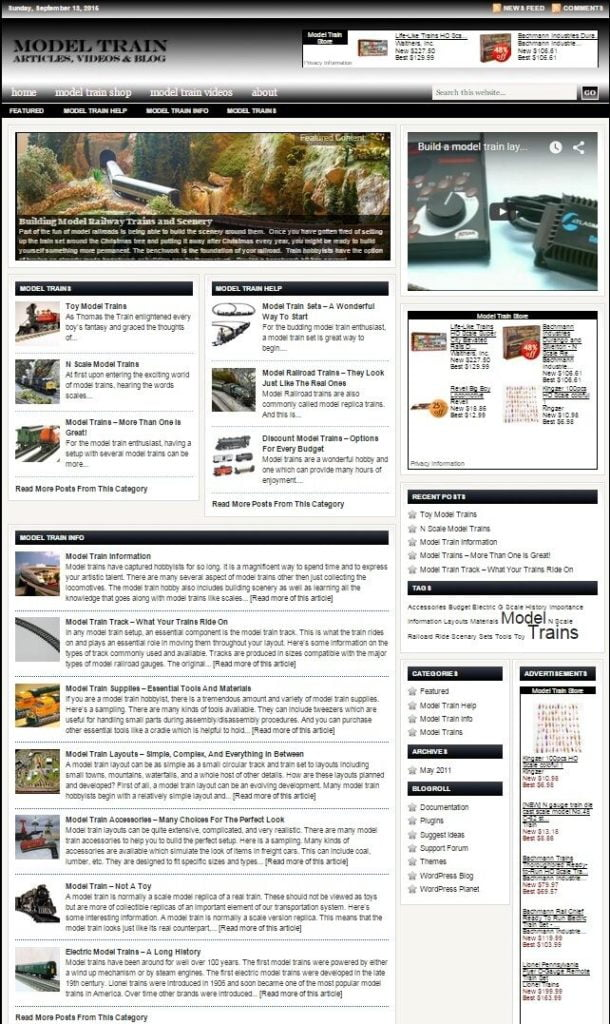 MODEL TRAINS BLOG WEBSITE BUSINESS FOR SALE! with TARGETED CONTENT