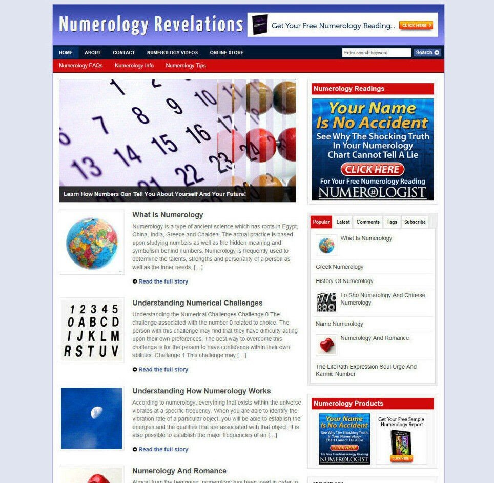 NUMEROLOGY BLOG & AFFILIATE WEBSITE WITH HOSTING AND NEW