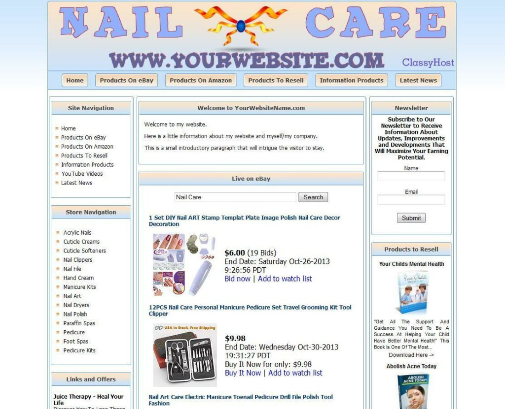 Nail Splitter, Nail Care Manicure Store Website For Sale, Free Domain Name