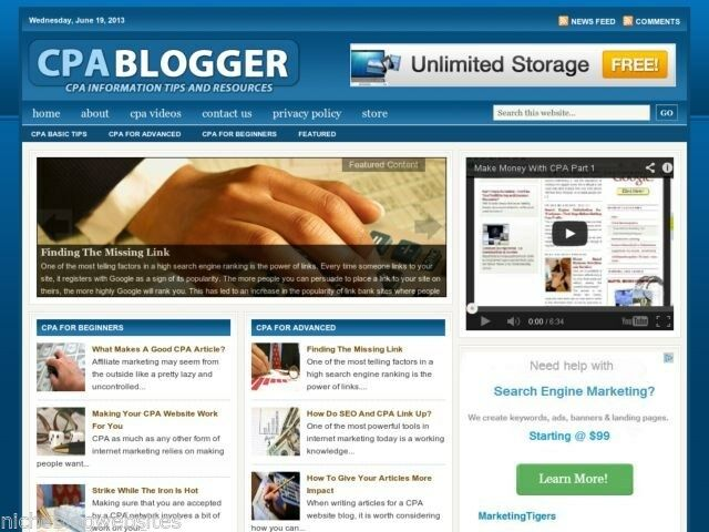 New CPA Blogger / Cost Per Action Wordpress Blog Website For Sale!