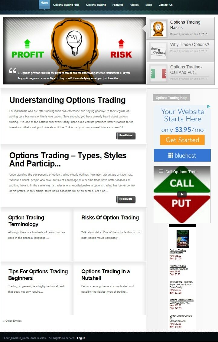 OPTIONS TRADING & INVESTING WEBSITE BUSINESS + DOMAIN FOR SALE! 100% OWNERSHIP