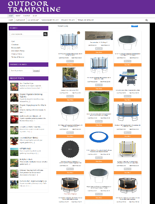 OUTDOOR TRAMPOLINE WEBSITE - NEW DOMAIN  + 1 YEARS HOSTING - EASY TO RUN
