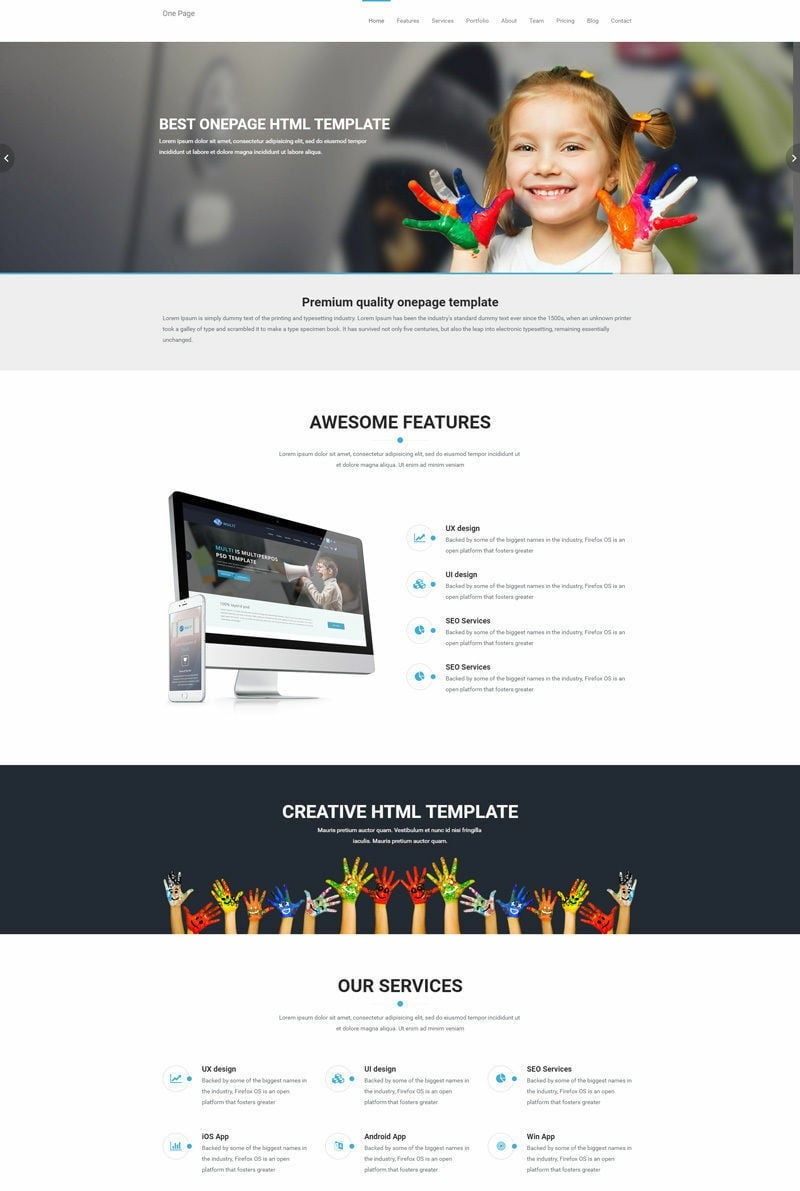 One Page Website HTML Bootstrap Responsive