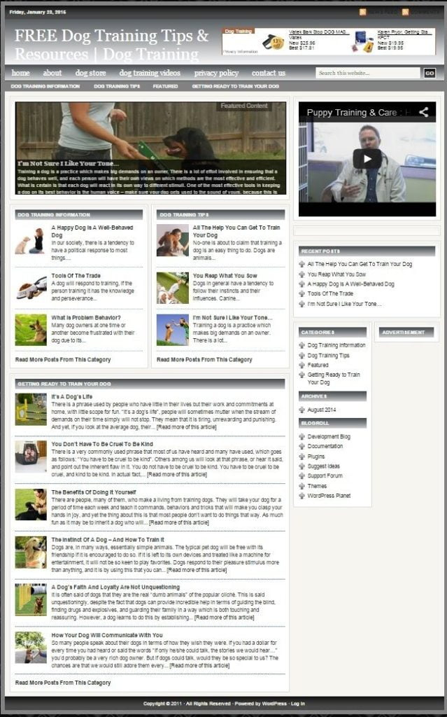 PET DOGS BLOG and SHOP WEBSITE BUSINESS FOR SALE! TARGETED CONTENT INCLUDED