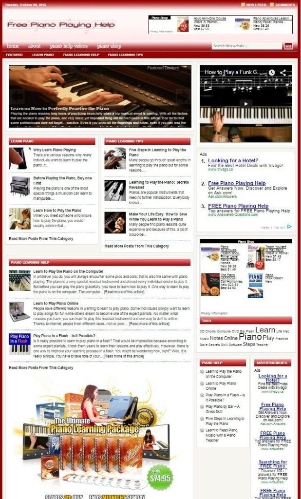 PIANO PLAYING HELP WEBSITE and BLOG FOR SALE! FULLY DEVELOPED WEBSIT