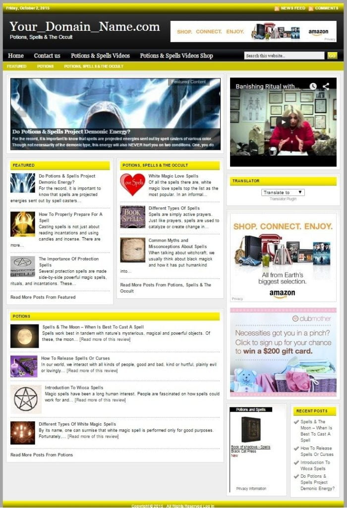 POTIONS, SPELLS & OCCULT BLOG WEBSITE BUSINESS FOR SALE! FULLY DEVELOPED WEBSITE