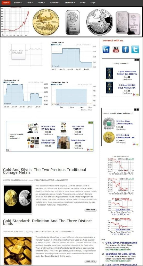PRECIOUS METALS INVESTING NEWS & BLOG WEBSITE BUSINESS and DOMAIN FOR SALE