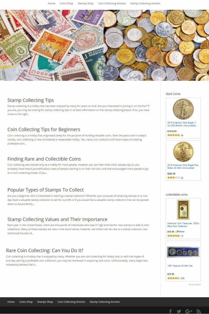 PROFESSIONAL COINS & STAMPS COLLECTING WEBSITE FOR SALE! MOBILE FRIENDLY DESIGN