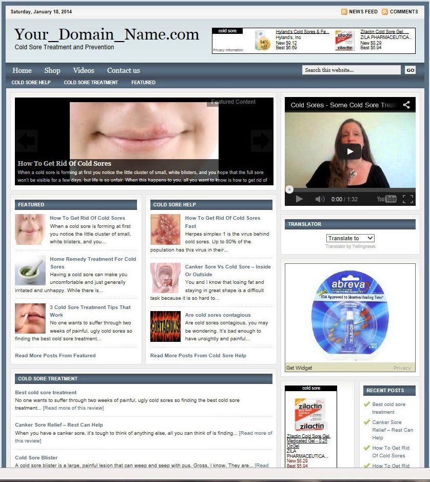 PROFESSIONAL COLD SORE REMEDIES WEBSITE FOR SALE!