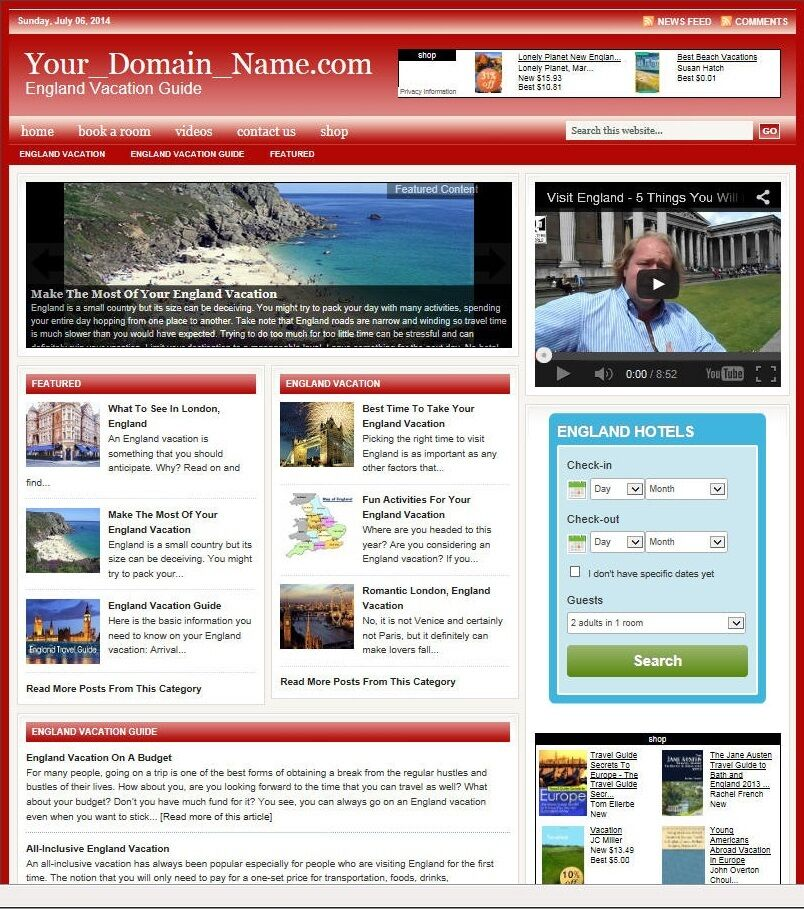 PROFESSIONAL UNITED KINGDOM VACATION WEBSITE BUSINESS and DOMAIN FOR SALE!