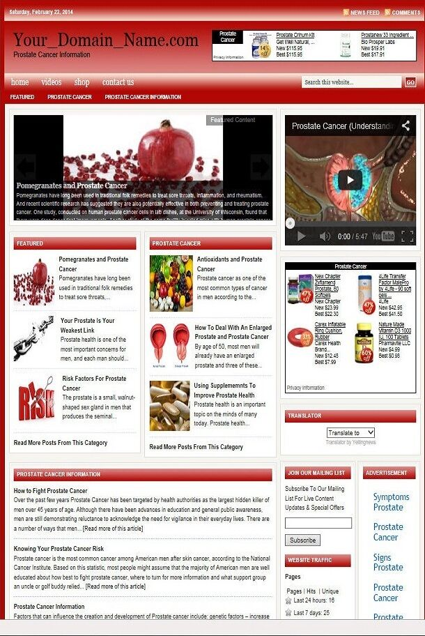 PROSTATE CANCER BLOG WEBSITE BUSINESS FOR SALE! with TARGETED CONTENT