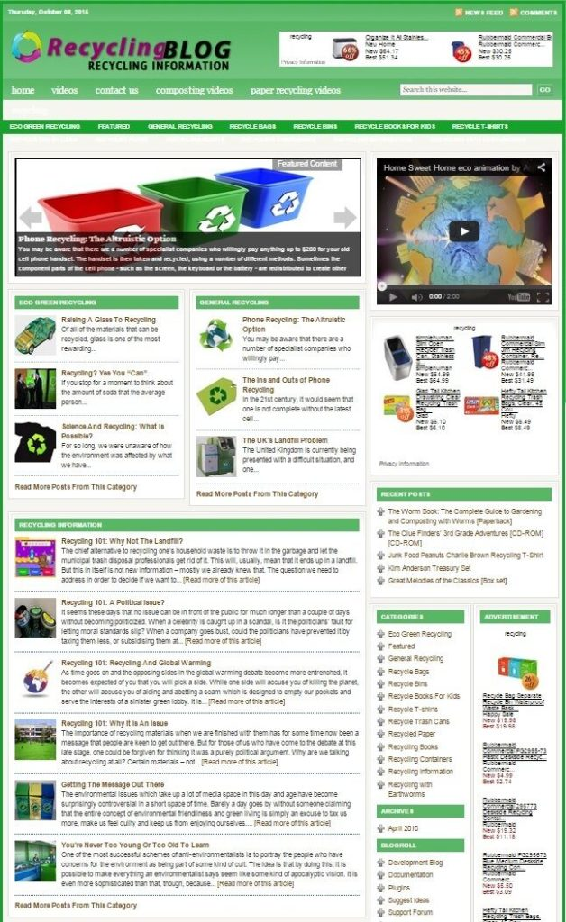 RECYCLING HELP BLOG WEBSITE FOR SALE! with TARGETED SEO CONTENT
