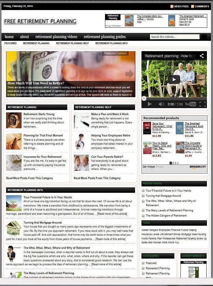 RETIREMENT PLANNING HELP BLOG WEBSITE BUSINESS & DOMAIN FOR SALE!