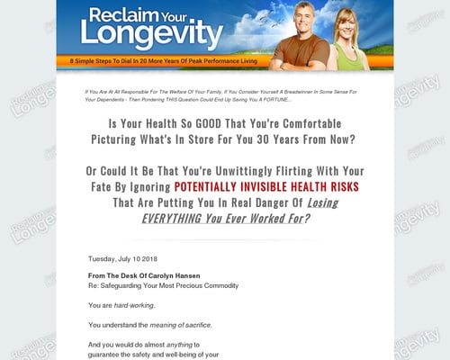 Reclaim Your Longevity - 20 More Years Of Peak Performance Living