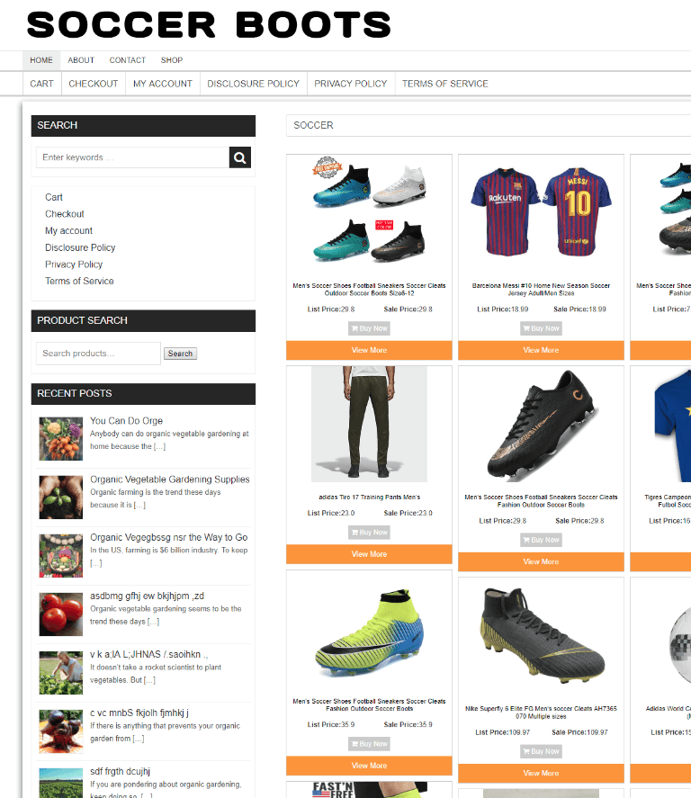 SOCCER BOOTS WEBSITE BUSINESS 1 YEARS HOSTING - NEW DOMAIN - ECOMMERCE