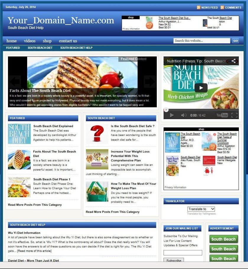 SOUTH BEACH DIET BLOG WEBSITE BUSINESS FOR SALE! TARGETED SEO CONTENT INCLUDED