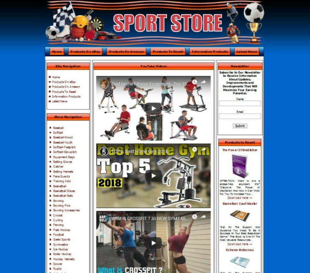 SPORT STORE WEBSITE BUSINESS FOR SALE. Ebay Amazon Adsense Clickbank FREE Domain