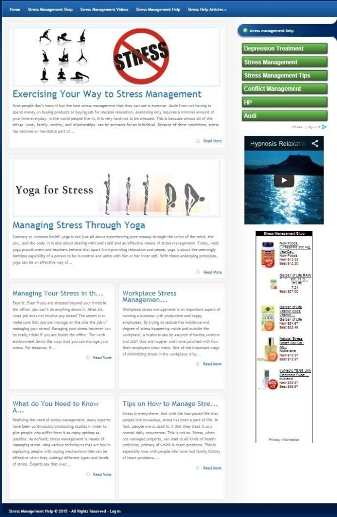 STRESS MANAGEMENT WEBSITE BUSINESS FOR SALE! WITH SEO TARGETED CONTENT!