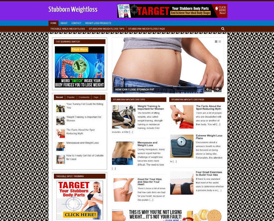STUBBORN WEIGHTLOSS TIPS WEBSITE & ONLINE STORE + DOMAIN - VIDEO PAGES - HOSTING