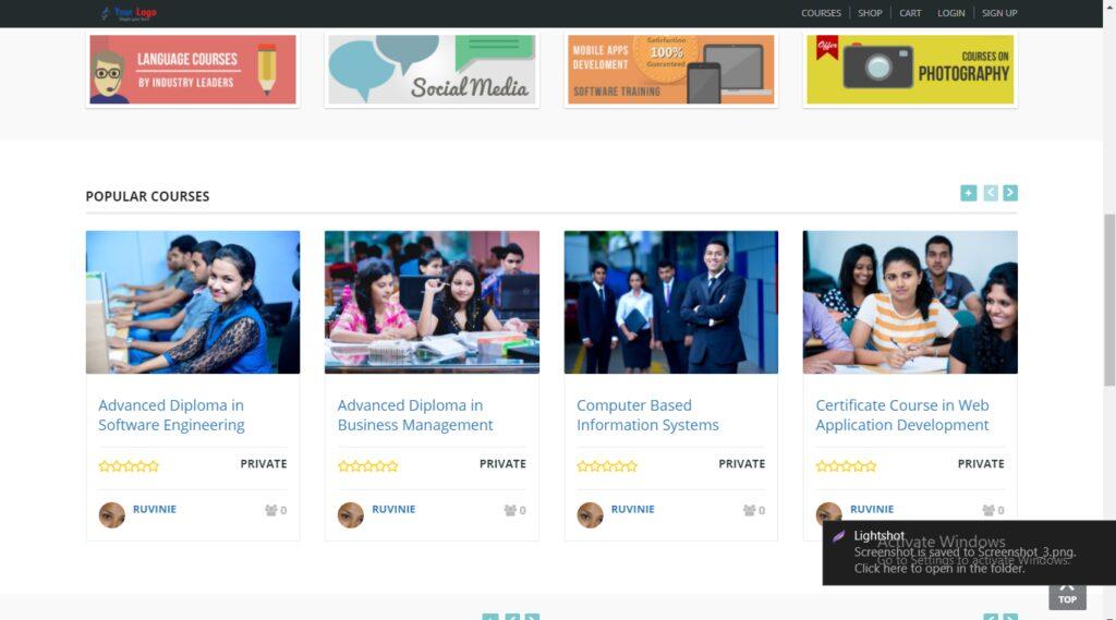 School management / Course enrollment / eLearning Website - Free Hosting+Install