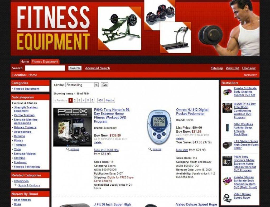Turnkey Amazon Fitness Affiliate Store Website Script Passive Income
