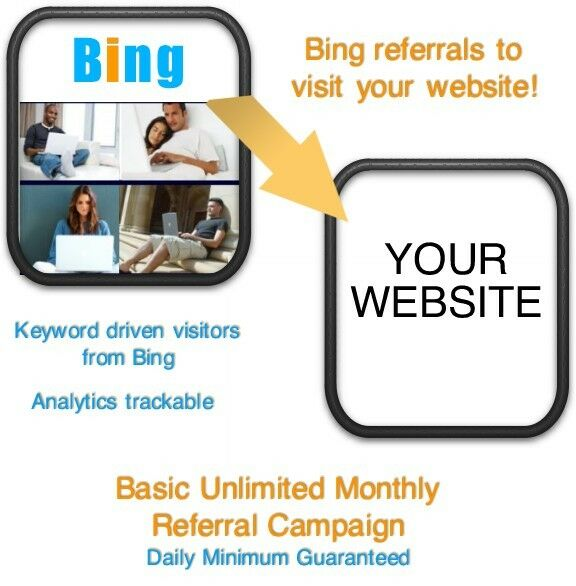 Website Visitors- Unlimited Monthly Bing Referrals/Visitors to your website